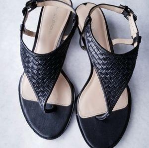 Via Spiga black woven leather sandals size 8M